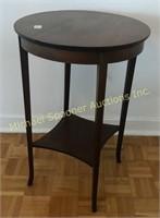 ROUND MAHOGANY WITH INLAY LAMP TABLE