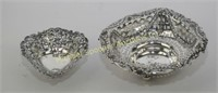 TWO BIRMINGHAM STERLING PIERCED DISHES 1895 + 1897