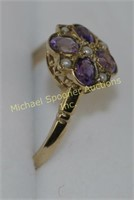 9K YELLOW GOLD AMETHYST AND SEED PEARL RING