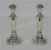 PAIR STERLING WEIGHTED CANDLESTICKS