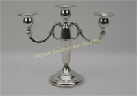SINGLE STERLING TRIPLE WEIGHTED CANDELABRA