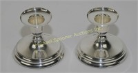 PAIR 830 SILVER SWEDISH MEMA SIGNED CANDLEHOLDERS