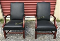 PAIR OF BLACK LEATHER CHIPPENDALE STYLE CHAIRS