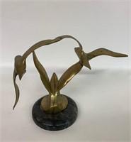 Fine Brass Sculpture of Flying Birds