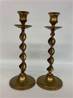 Pair of Rare Barley Twist Brass Candle Stick Holde