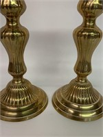 Pair of Fine Early Brass Candle Stick Holders