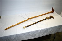 Carved Cane (damaged) and Walking Stick