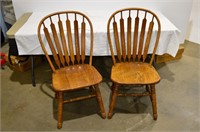 Pair of Wood Dining Chairs