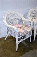Pair of White Wicker Chairs with Cushions