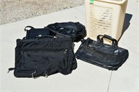 Grp, of Travel Bags and Laundry Hamper