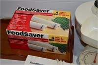Box of Foodsaver, Mandolin, Canisters, etc.