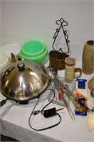 Box of Electric Wok, Kitchen Utensils, Pyrex,