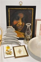Grp, of Home Décor - Oil Lamp, Tray, Art. Etc.