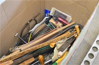 Box of Assorted Tools - Saws, Level, File