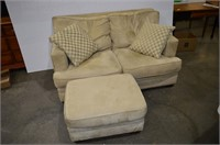 Beige Loveseat and Ottoman - needs cleaning