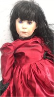 """Vintage Porcelain Doll with Satin Dress 28"""" Tall"""