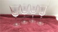 Set of 4 St George Crystal Wine Glasses
