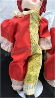"""Lot of 2 Vintage Clown Dolls with stands 16"""" tall"""