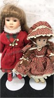 """2 Vintage Dolls with metal stands 17 & 14"""" tall"""