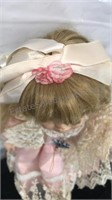 """Vintage Porcelain Doll 17"""" Tall with lace dress"""