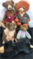 Lot of 5 Vintage Stuffed Bears Including one