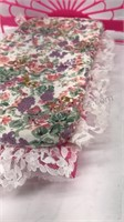 """Plastic Doll bed with pillows and blankets 12x6"""""""