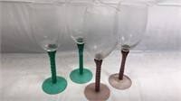 4 Pcs Stemware with colored base 2 green 2 red 9""