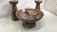 3pc Decorative Table Set 2 Candle Holders and 1