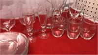 "Lot of Clear Glass With  6"" Plates and Barware"