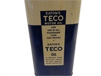RARE TECO(EATON'S) MOTOR OIL 8 IMPERIAL QUARTS CAN