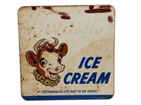 1951 BORDER'S ICE CREAM D/S PAINTED METAL SIGN