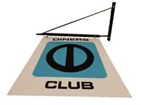 DINERS CLUB D/S PAINTED METAL SIGN/ BRACKET