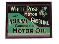 FRAMED WHITE ROSE MOTOR OIL LAMINATED PRINT