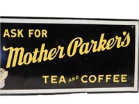 MOTHER PARKER'S TEA & COFFEE SST SELF FRAMED SIGN