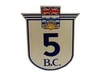 B.C. HIGHWAY 5 S/S PAINTED METAL SIGN