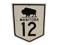 MANITOBA 12 HIGHWAY S/S PAINTED METAL SIGN
