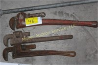 (3) Pipe Wrenches, (2) Nail Pullers, Pipe Bender