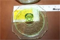 Green Depression Glass Candy Dish