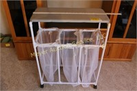 Laundry Hamper on Wheels, with ironing board top