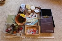 Candles, Tupperware, clipboard, Blank greeting