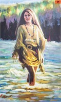Art Large Giclee on Canvas Native American Woman