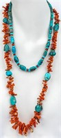 Jewelry Lot of Beaded Turquoise & Coral Necklaces