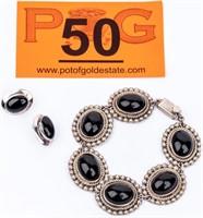 Jewelry Sterling Silver Onyx Bracelet & Earrings