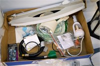 Box of Assorted Hardware and Light Fixtures