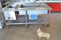 STAINLESS STEEL ROLLING METAL STATION WITH FOOD WA