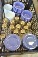 LOT OF SALT AND PEPPER SHAKERS, AND PLASTIC DINNER