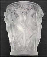 Lalique Crystal, Bacchantes Large Crystal Vase