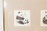 "Chinese Panda Lithograph Signed ""Lin."""