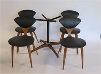 MIDCENTURY Plycraft Four Leather Chairs & Base