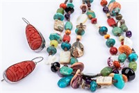 Jewelry Beaded Necklace and Sterling Earrings